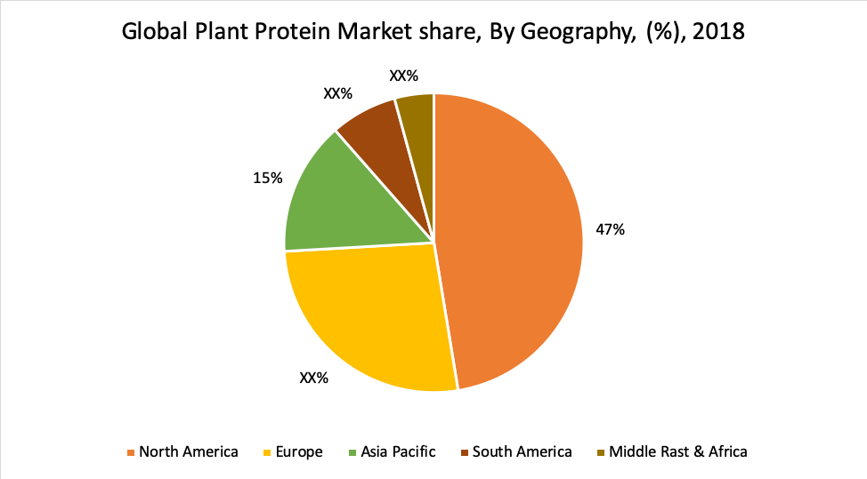 Global Plant Protein Market share, By Geography, (%), 2018