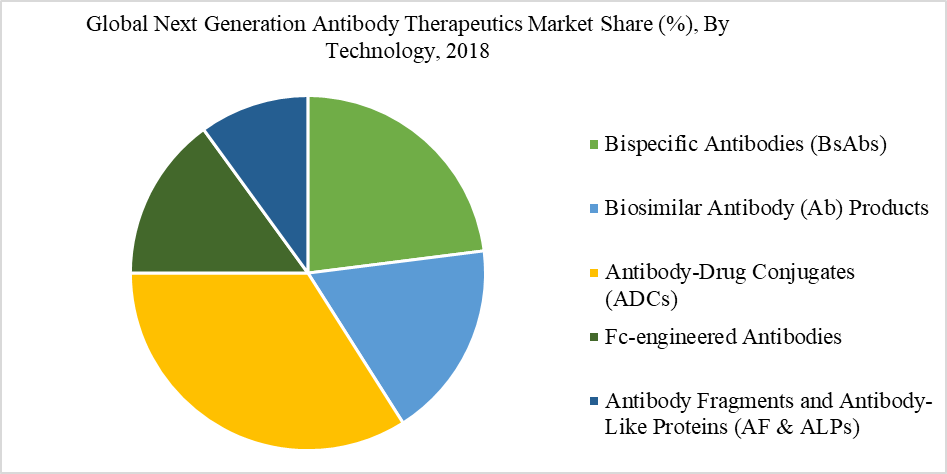 Global Next Generation Antibody Therapeutics Market Share (%), By Technology, 2018